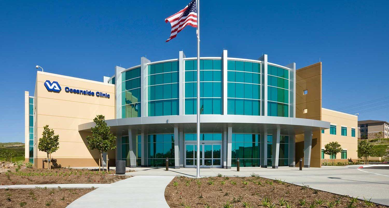 VA Clinic Oceanside Exterior with Flag